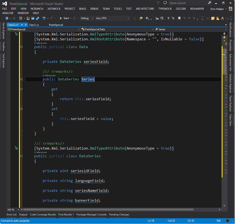 Visual Studio tip: paste json/xml file as class |  NET Code