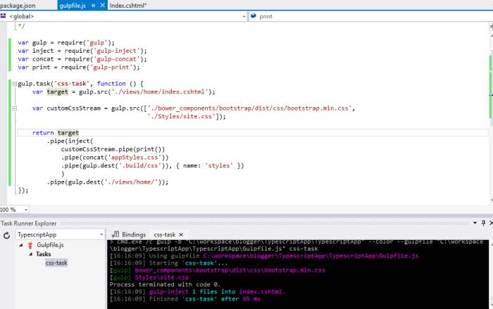 TypeScript, AngularJS, Gulp and Bower in Visual Studio 2015